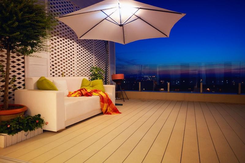 patio umbrella with solar lights